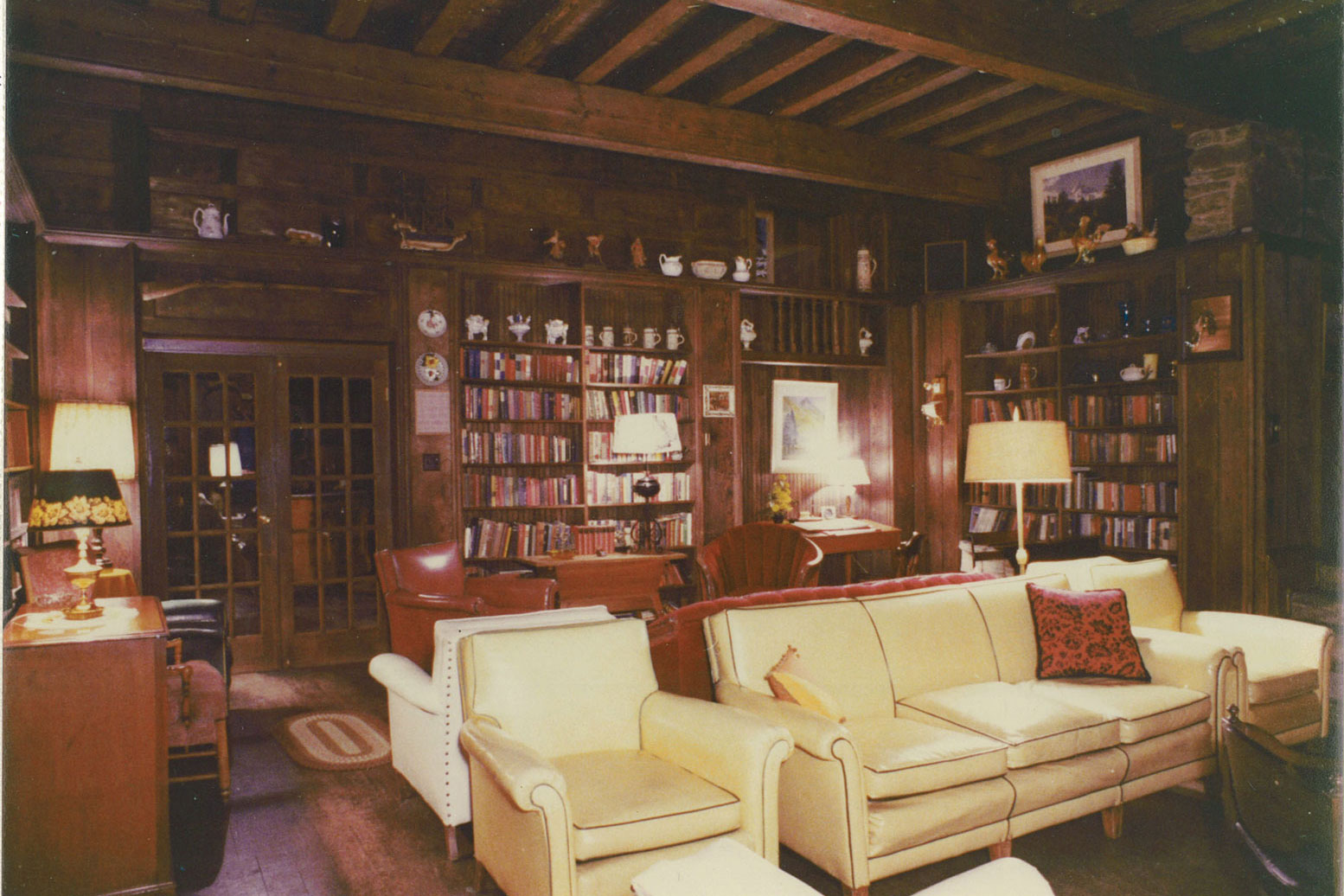 Manor House library in the 1950's (now the living room).