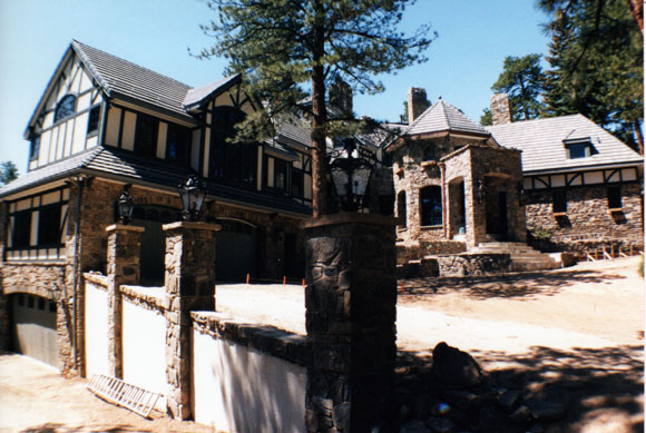 Front of Manor during the 1996 renovation. The steps to the second floor were removed and a grand foyer added. The upper and lower garages were added, and a major room addition was built above the garages.