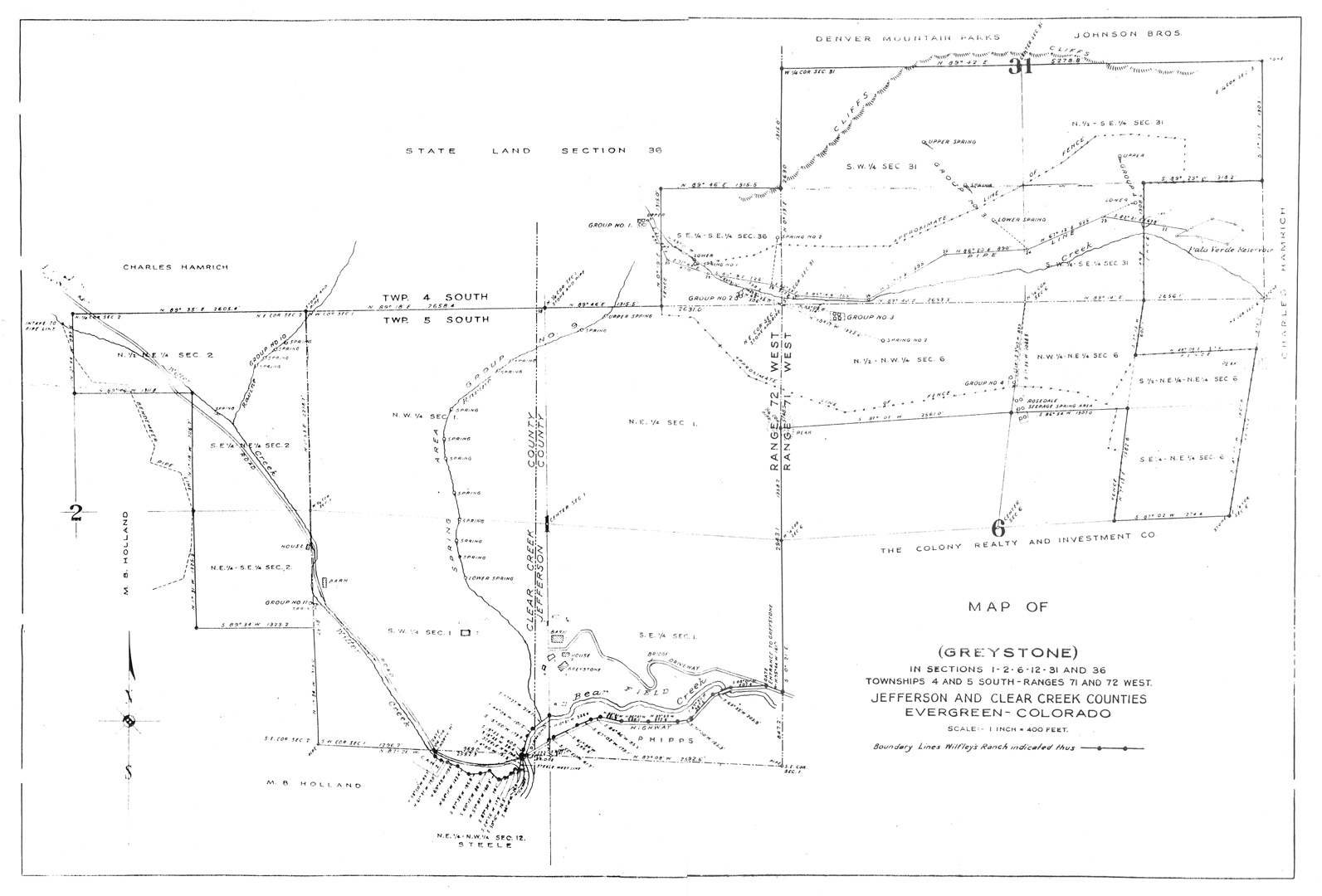 Greystone survey map. Elmer purchased the adjacent Mayo Ranch and grew Greystone to over 1250 acres for 90 head of cattle and 6 horses. Survey Map Courtesy Sandifer Family Collection