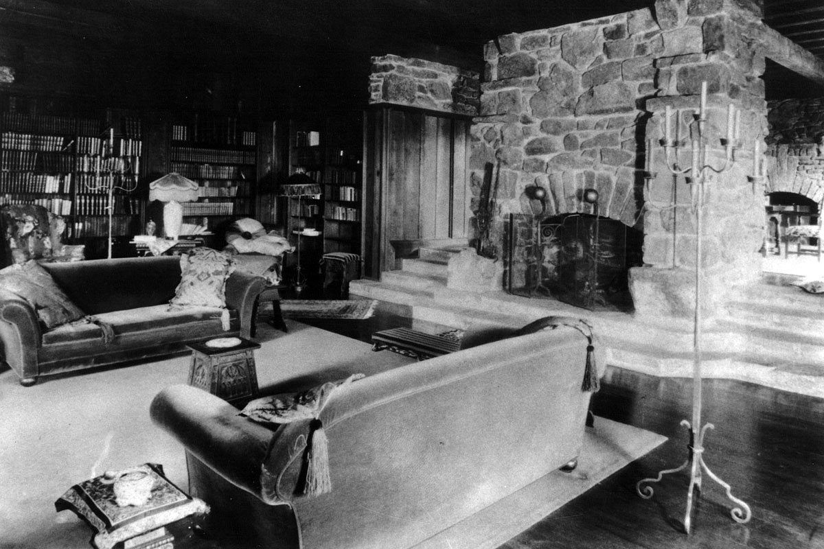 Reverse perspective of the Manor House living room in the 1920's.