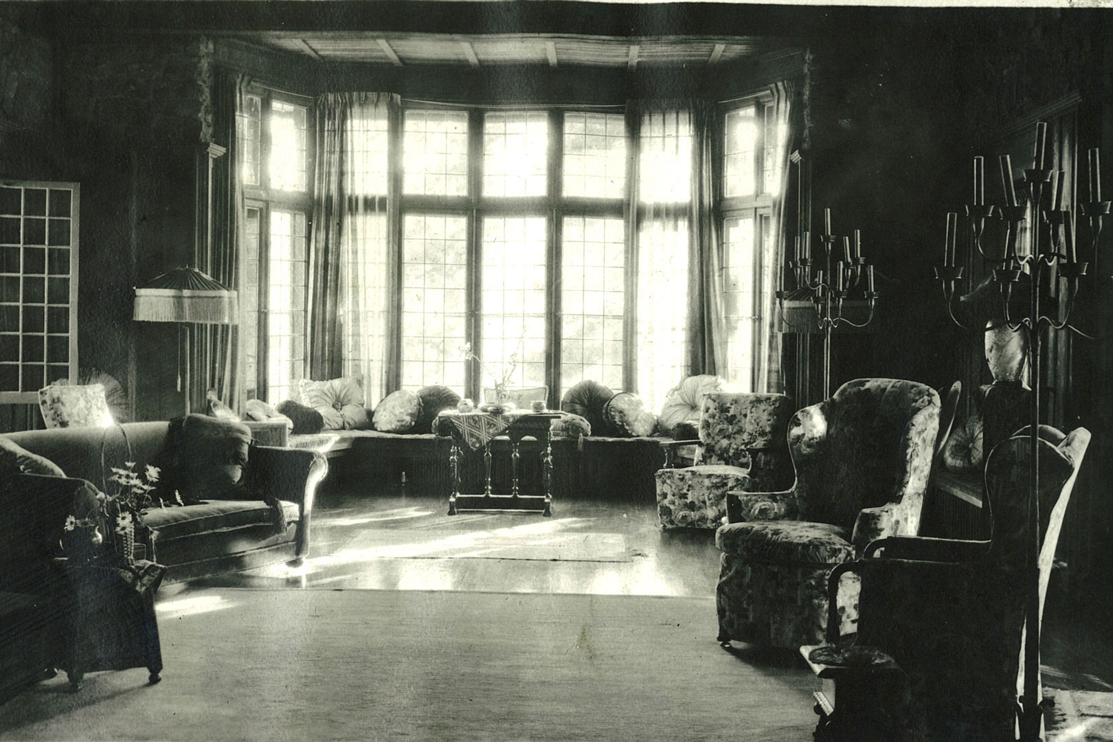 Manor House living room in the 1920's.